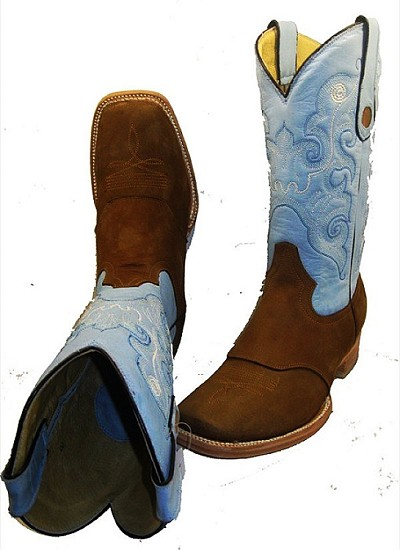 CowTown Nu-buc leather Texas Square Toe 300 -  Brown with Blue