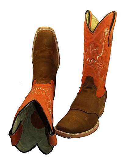 Nu-Buc leather Texas Square Toe 301 -  Brown  with Saddle