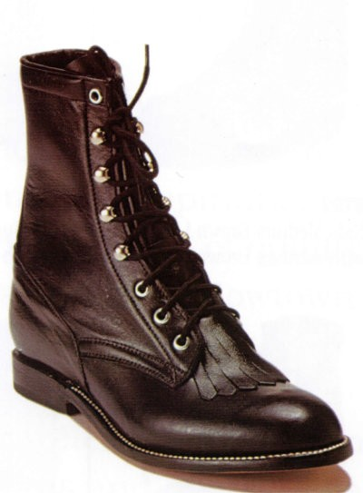 Natural Lace-Up Work Boot - Black