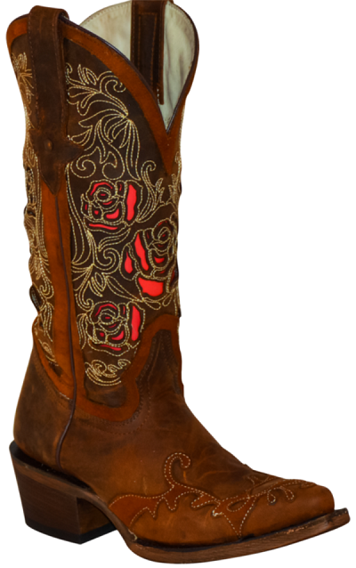 DRW2019-Dahlia Rose Boots Snip Toe - Brown