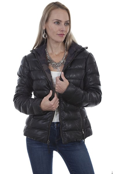 Scully Leather Ribbed & Hooded Leather Reversible Jacket