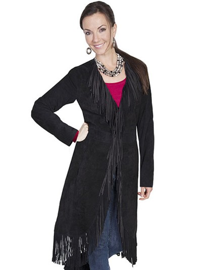 Scully Leather Suede Fringe Maxi Coat