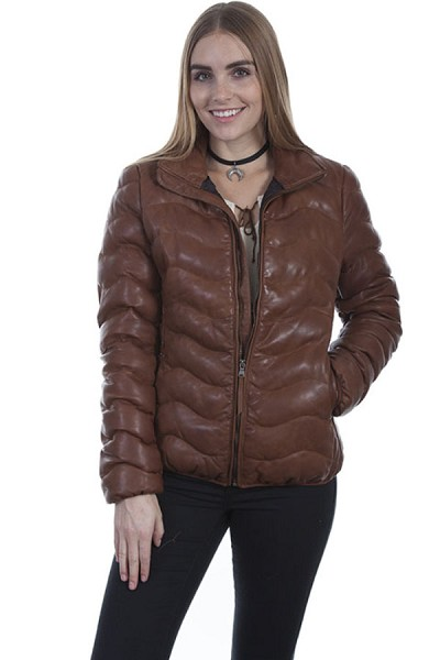 Scully Leather Ribbed Leather Jacket - Cognac