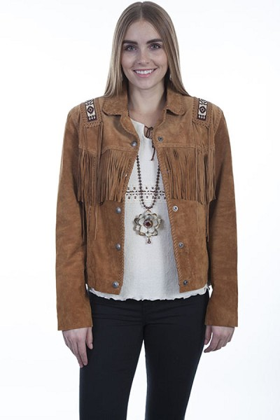 Scully Leather Hand Laced & Bead Trim Jacket in Bourbon