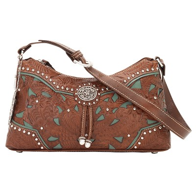 Lady Lace Collection Zip-Top Shoulder Bag - Antique Brown/Turquoise