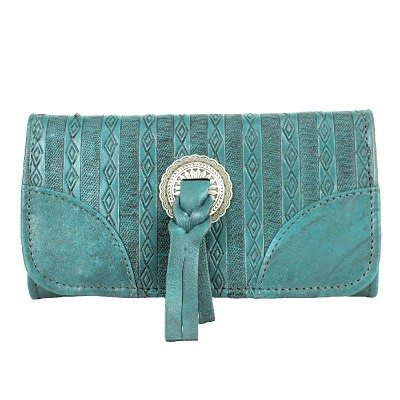 Southern Style Basket Weave Collection Tri-Fold Wallet - Dark Turquoise