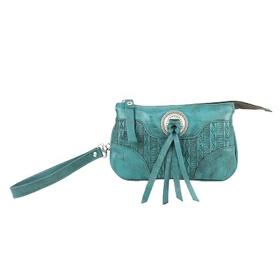 Southern Style Basket Weave Collection Rodeo Wristlet - Dark Turquoise