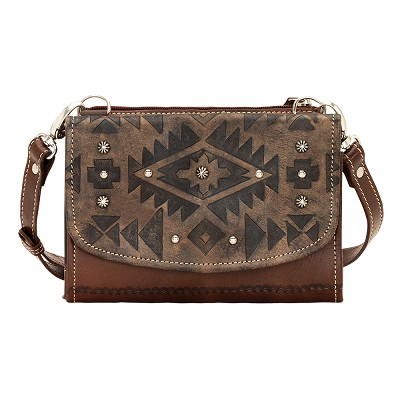 Texas Two-Step Small Crossbody Bag/Wallet Distressed Charcoal Brown