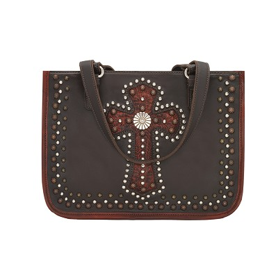Las Cruces Multi-Compartment Zip Top Tote Chocolate/Distressed Crimson