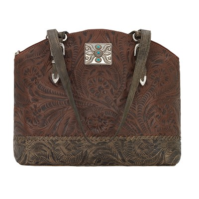 Annie's Secret Collection Zip Top Half Moon Tote with Secret Compartment Chestnut Brown