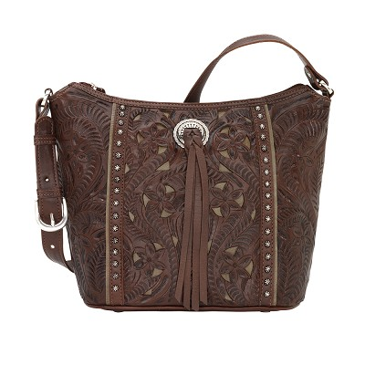 Hill Country Zip Top Bucket Tote Chestnut Brown