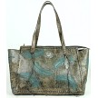 Sacred Bird Zip Top Tote with Secret Compartment - Charcoal / Turquoise
