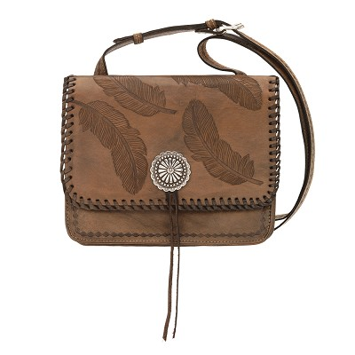 Sacred Bird Multi-Compartment Crossbody Flap Bag in Brown