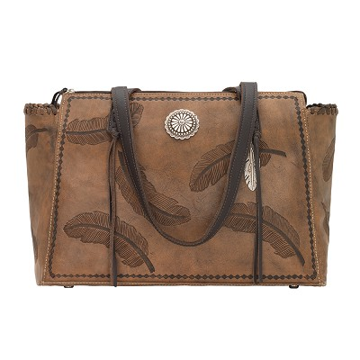 Sacred Bird Zip Top Tote with Secret Compartment - Charcoal Brown