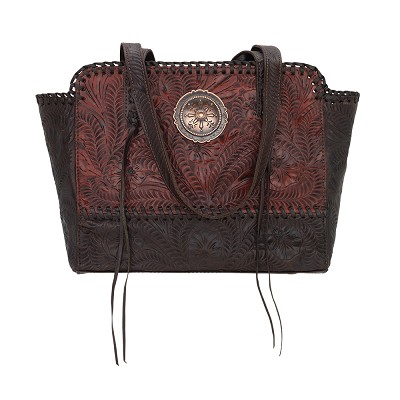 Annie's Secret Collection Zip Top Tote with Secret Compartment Distressed Crimson / Chocolate