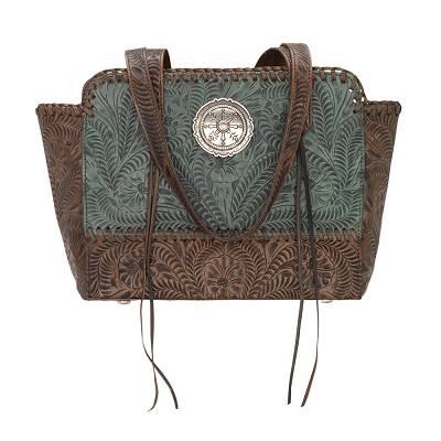 Annie's Secret Collection Zip Top Tote with Secret Compartment Turquoise / Distressed Charcoal Brown