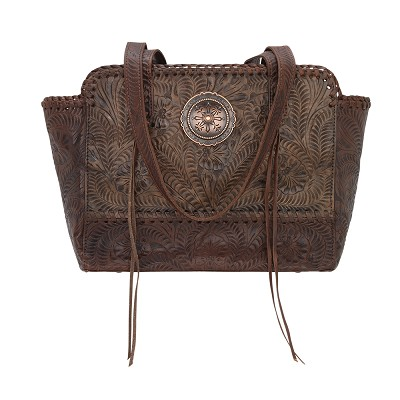 Annie's Secret Collection Zip Top Tote with Secret Compartment Distressed Charcoal Brown / Chestnut Brown
