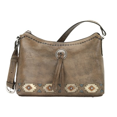 Native Sun Collection Zip Top Shoulder Bag - Distressed Charcoal Brown