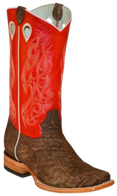 "BT-102 Brown Cowhide Red Top Square Toe 13"" Roper Heel"