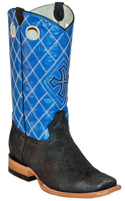 "BT-107 Black Rough Out Cyan Blue Cross Square Toe 12"" Roper Heel"