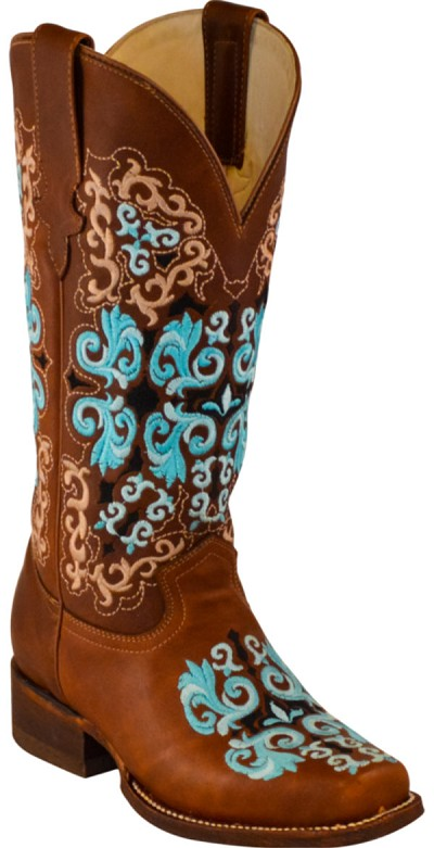 "BTW-Jolie ""Aqua Scrolls"" Embroidery - Chestnut Brown Square Toe 13"""