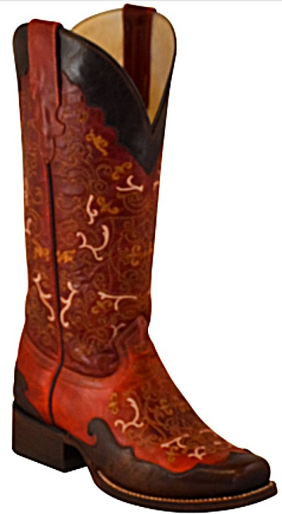 "BTW105-Wildfire ""Red Boot with Chocolate Overlay"" Square Toe 13"""