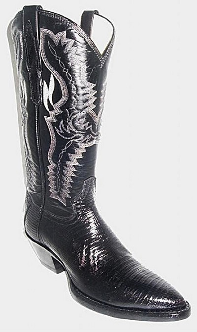 "Woman's Handmade Lizard Height 12"" 1844j - Black"