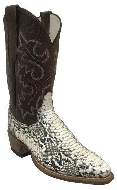 "Woman's Handmade Natural Python Height 10"" - Dark Tan"