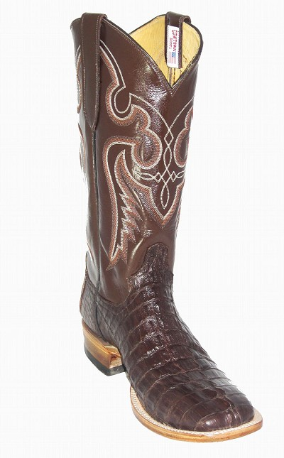 "Caiman Crocodile Tail Cut Height 13"" Medium Brown"