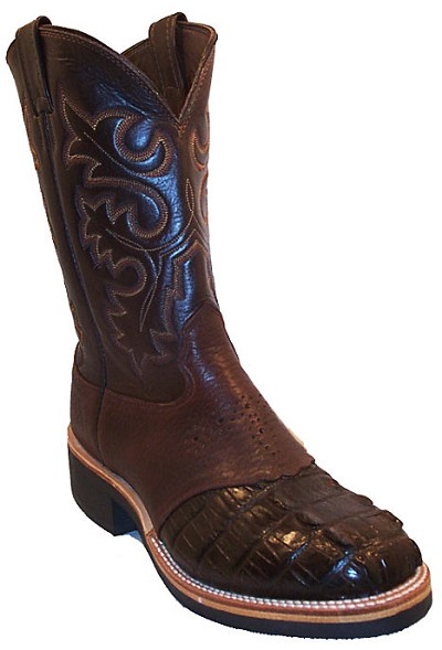 "Alligator Crepe Sole Roper Height 10"" - Brown"
