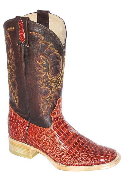 "Print Alligator Square Toe Height 13"" 6097 - Cognac"
