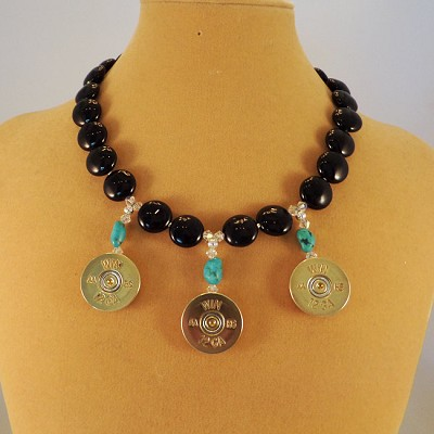 Brass Shotgun Shell Necklace using Black Onyx and Swarovski Crystal