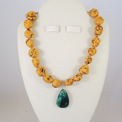 "Yellow Turquoise Nugget 16"" Necklace with Turquoise Pendant"