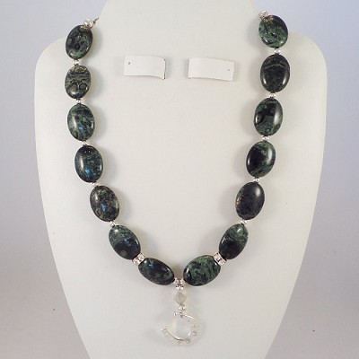 "Green Rainbow Jasper 16"" Necklace with a Turtle Pendant and Swarovski"