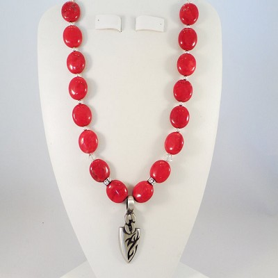 "Red Howlite Stones 16"" Necklace with a Solid Pewter Arrow Pendant"