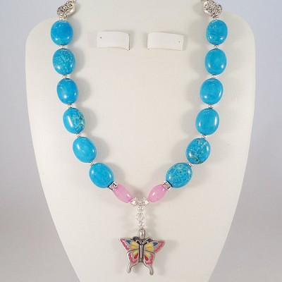 "Blue Howlite 16"" Necklace with a Pink & Yellow Butterfly Pendant"
