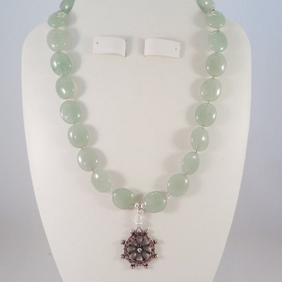 "Aventurine Green 16"" Necklace with a Ship's Wheel Pendant"
