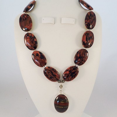 "Brown Goldstones 16"" Necklace with a Brown Agate Pendant Encased in German Silver Highlighted with Black Swarovski Crystal"