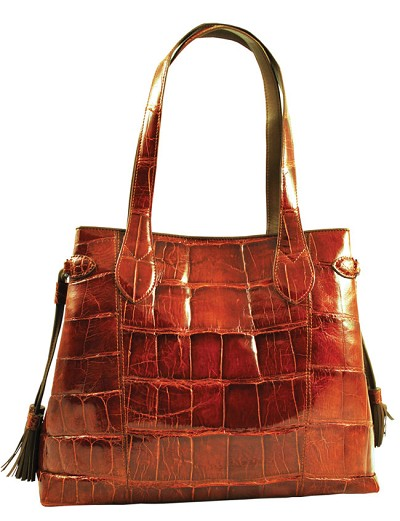 Alligator BKT Ferrini Purse in Cognac
