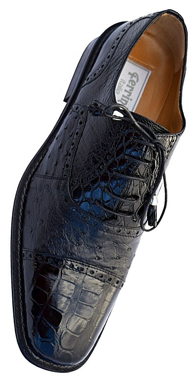 "Ferrini F203 ""Belly Alligator / FQ Ostrich Cap Toe Lace-up in Black"