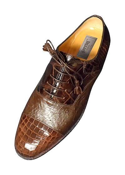 "Ferrini F4234 Genuine ""Alligator / Ostrich"" Cap Toe Lace-up in Chocolate"