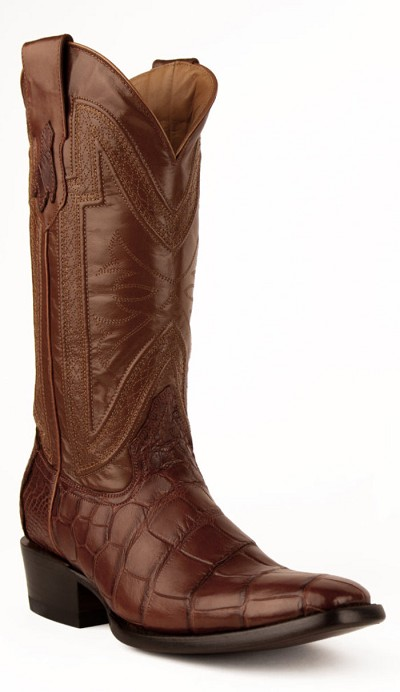 "Stallion Belly Alligator FR-Toe 13"" Cognac"