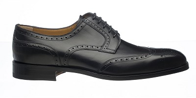 Ferrini French Calf Wing Tip Dress Shoe - Black