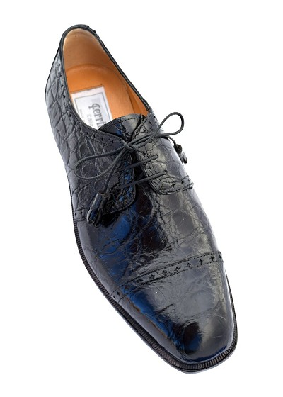 Ferrini Classic Belly Alligator Oxford Dress Shoe - Black