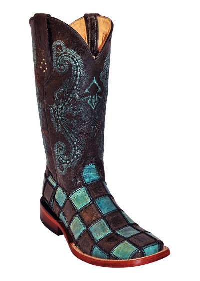 Ferrini Ladies Patchwork S-Toe Black/Teal