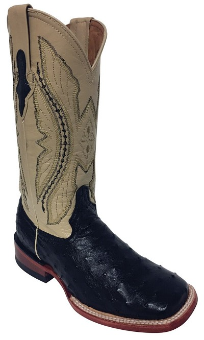 "Women's Full Quill Ostrich S-Toe> 12"" Black/Antique Saddle"