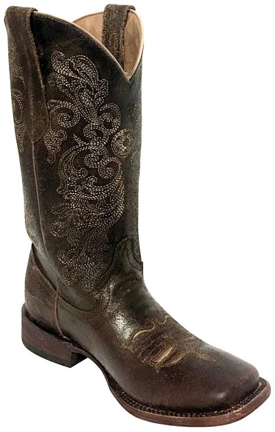 "Southern Charm S-Toe> 12"" Distressed Chocolate"