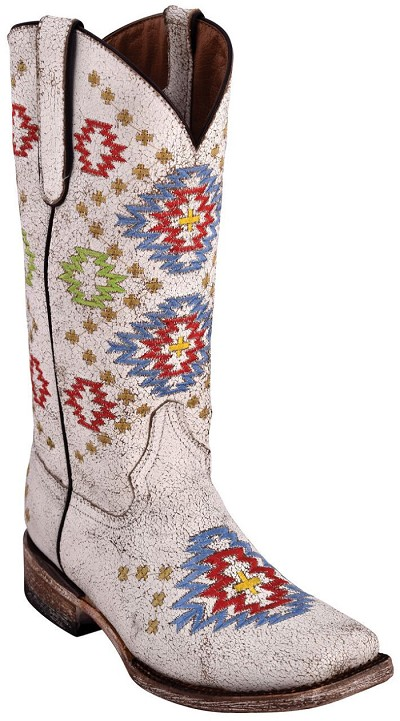 "Aztec Cowgirl S-Toe> 12"" White"