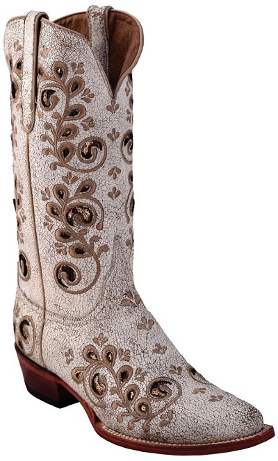 "Rockin Cowgirl  V-Toe> 12"" Distressed White"