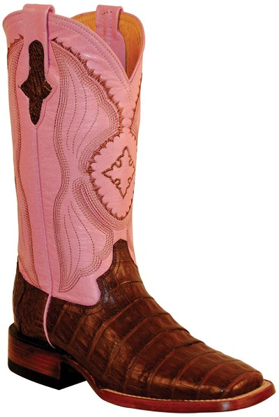 "Woman's Belly Caiman Crocodile S-Toe> 12"" Chocolate/Pink   (Women's 17 Day Sale)"